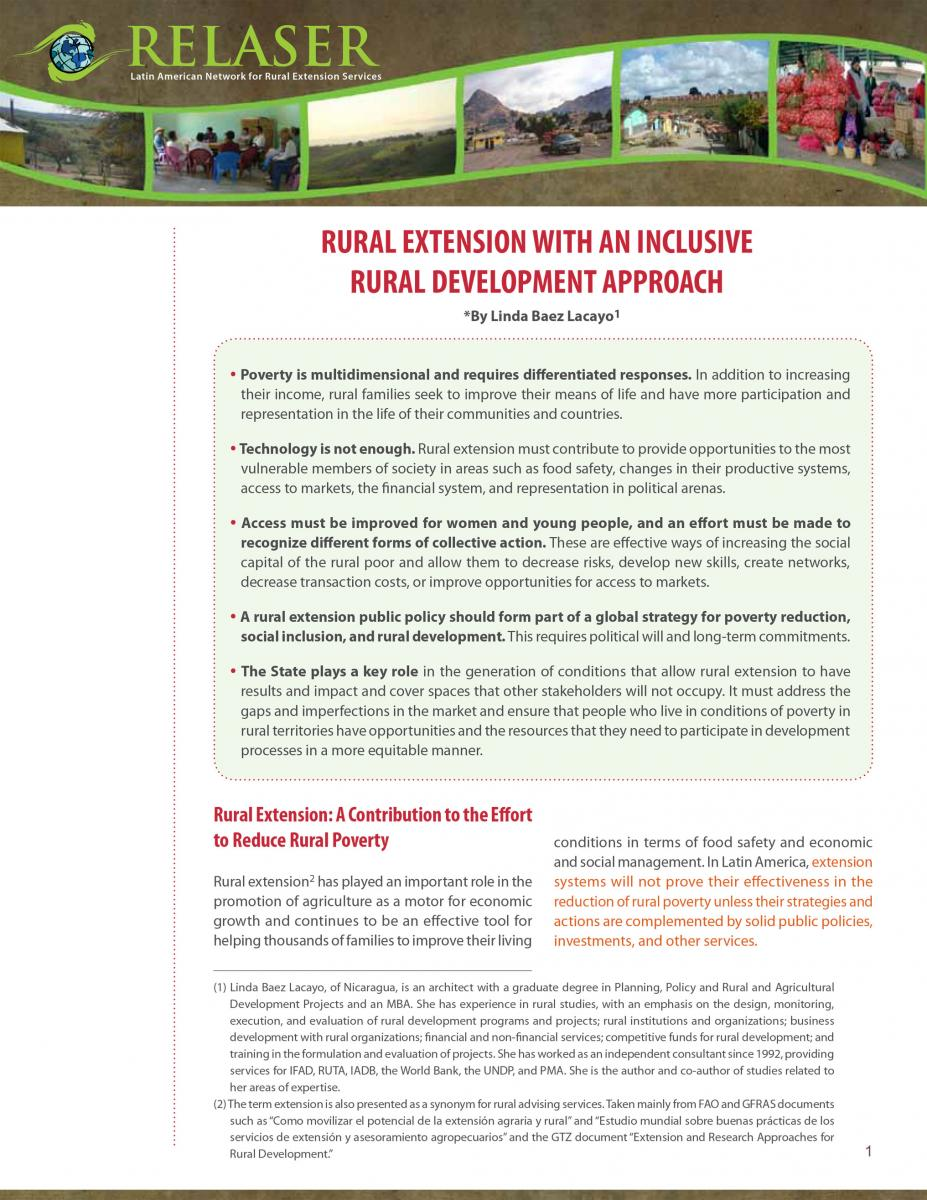 Rural Extension with an Inclusive Rural Development Approach