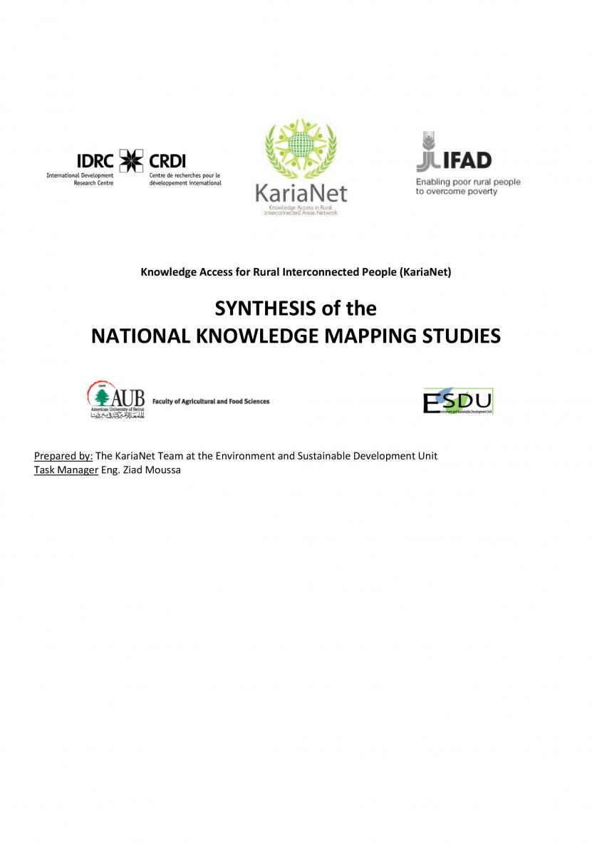 SYNTHESIS OF THE NATIONAL KNOWLEDGE MAPPING STUDIES