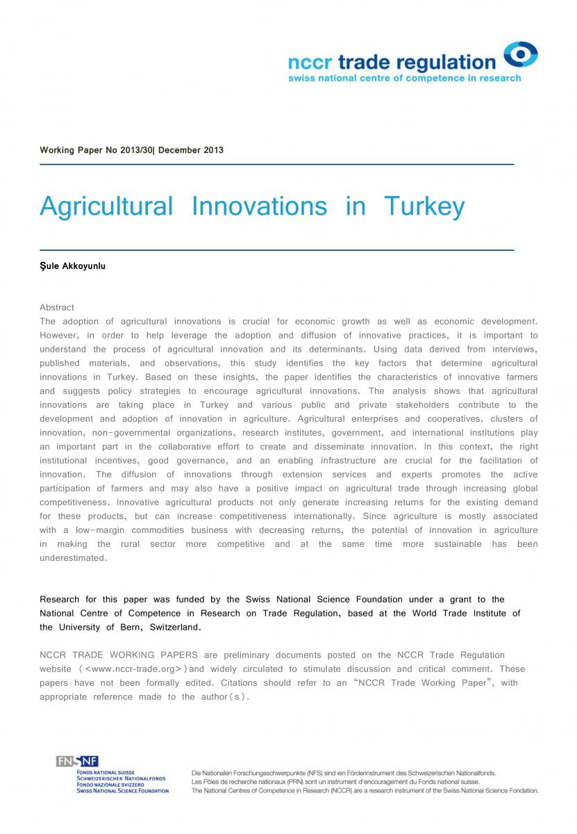 Agricultural Innovations in Turkey