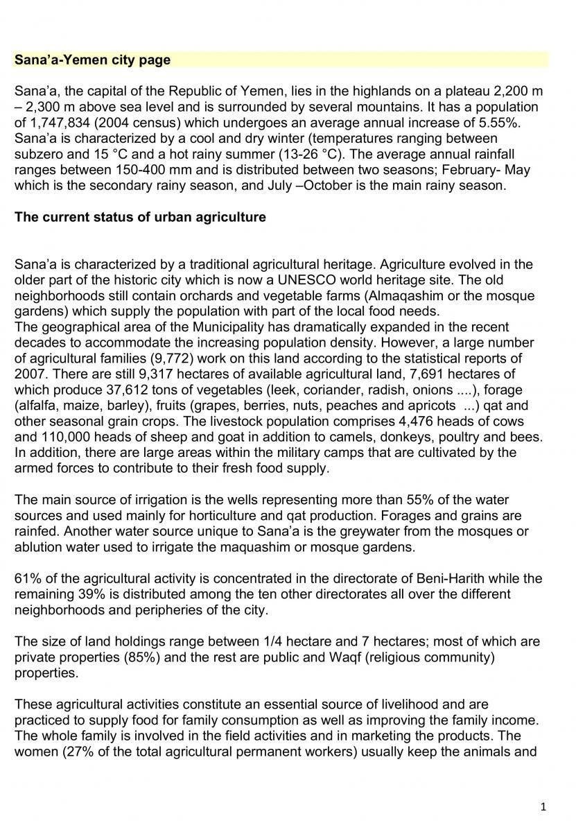 ملخص معلومات عن الزراعة الحضرية والامن الغذائي في أمانة العاصمة صنعاء