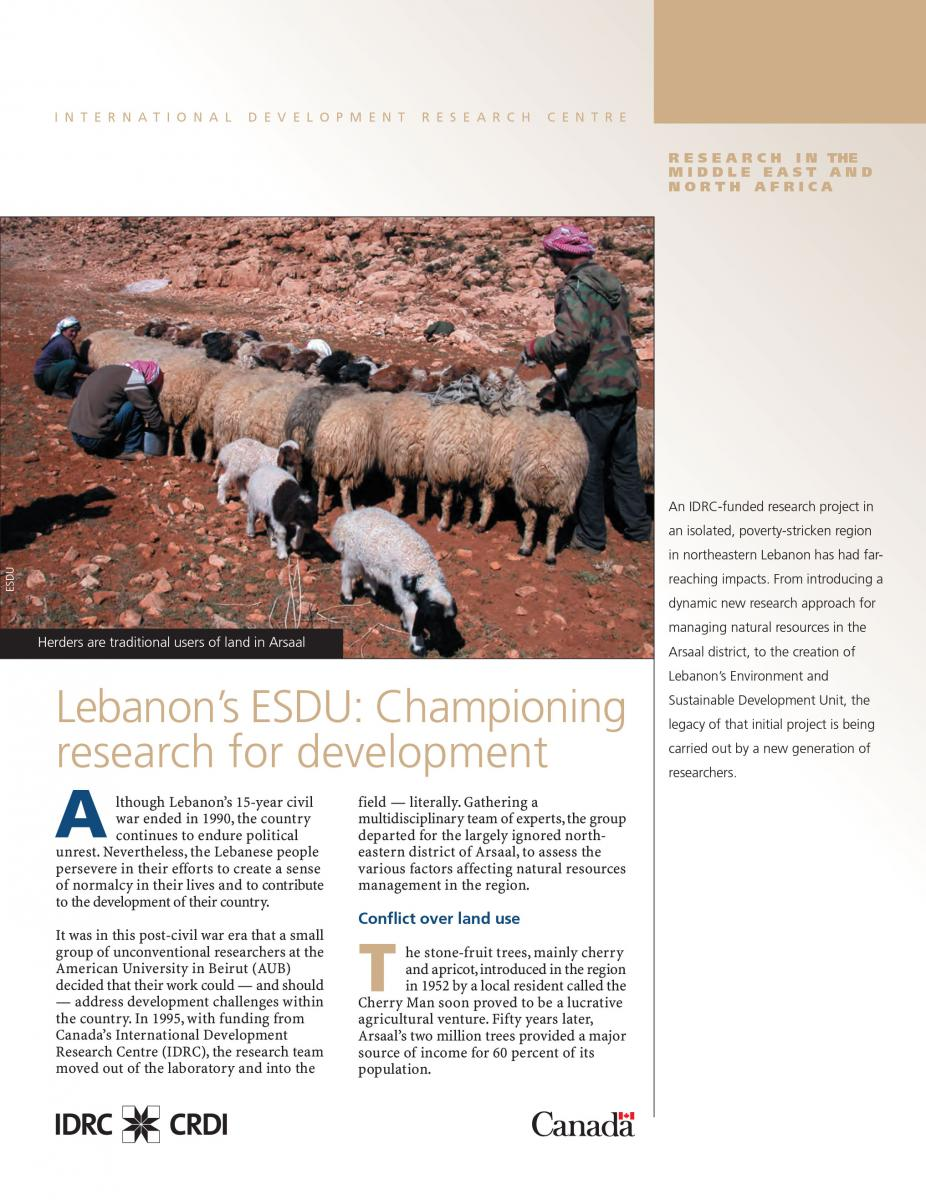 Lebanon's ESDU: Championing research for development