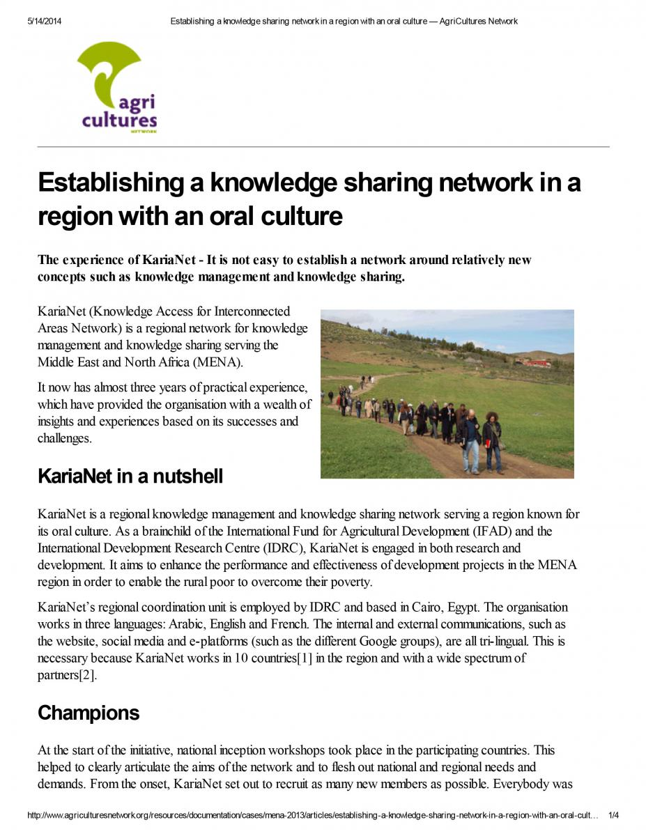 Establishing a knowledge sharing network in a region with an oral culture