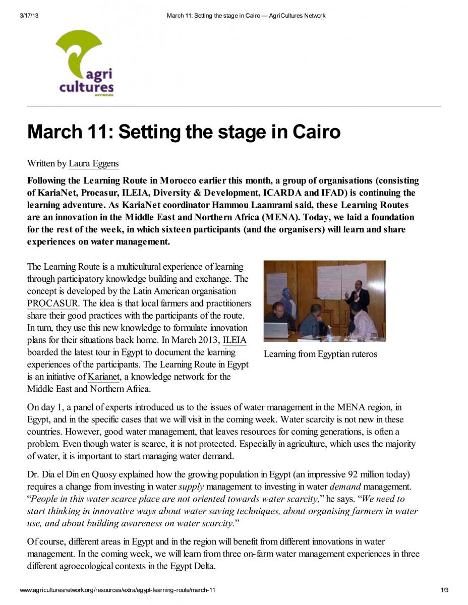 Setting the Stage in cairo