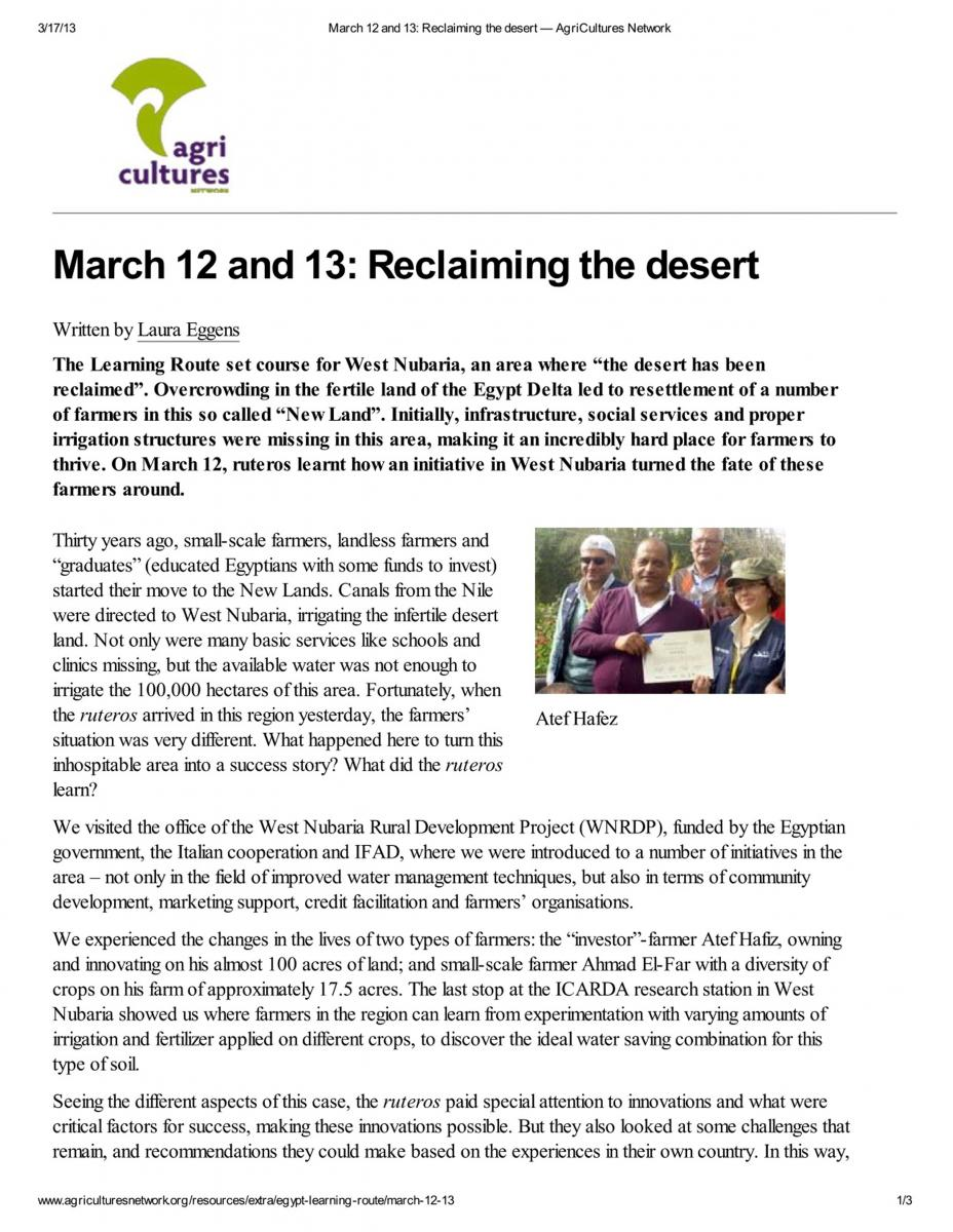 Reclaiming the desert